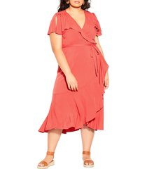 plus size women's city chic palm love wrap dress, size xx-small - orange