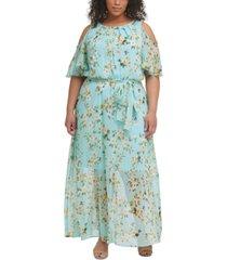 calvin klein plus size floral-print cold-shoulder chiffon maxi dress