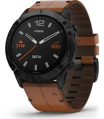 garmin fenix 6x sapphire dlc with leather band premium multisport gps watch, 51mm