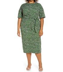 plus size women's halogen side tie midi dress, size 3x - green