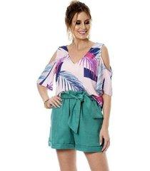 blusa bisô abertura estampada feminina