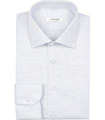 camicia da uomo su misura, canclini, microdesign melange grigia, quattro stagioni | lanieri