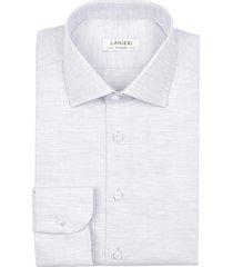 camicia da uomo su misura, canclini, microdesign melange grigia, quattro stagioni
