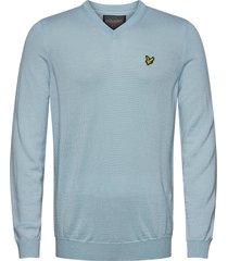 golf v neck pullover stickad tröja v-krage blå lyle & scott sport