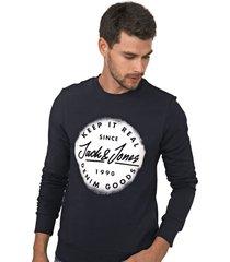 moletom flanelado fechado jack & jones navy jac azul-marinho - kanui