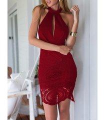 burgundy crochet lace insert halter neck sleeveless mini dress