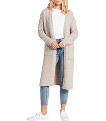 women's volcom lil cardie longline cardigan, size medium/large - grey