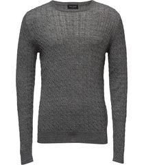 neuxes, men's o-neck stickad tröja m. rund krage grå bruun & stengade