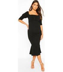 maternity peplum hem cap sleeve midi dress, black