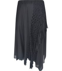 zucca frayed knitted detail skirt
