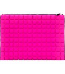 no ka' oi padded effect oversized clutch bag - pink