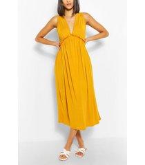 mouwloze gesmokte jurk met franjes, mustard
