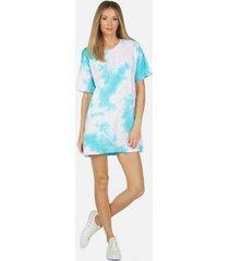 burman t-shirt dress - l pink/turquoise tie dye