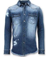 enos lange spijkeroverhemd blauw