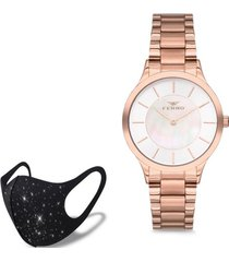 reloj rose gold pearl fashion mask con cristales ferro