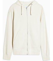 mens stone twill zip through hoodie