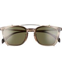 david beckham eyewear eyewear by david beckham 53mm rectangular clip-on sunglasses in black /silver mirror at nordstrom