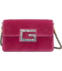 gucci pink velvet shoulder bag with square g