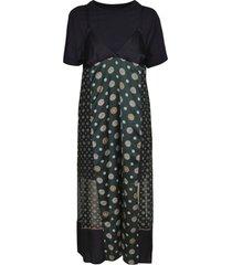 sacai printed skirt detail long dress