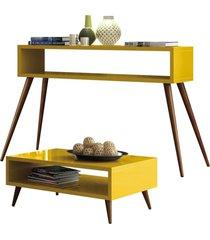 kit aparador com mesa de centro lyam decor lara amarelo