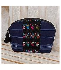 cotton cosmetic bag, 'tactic stripes in navy' (guatemala)