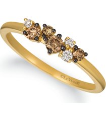 le vian chocolatier chocolate diamond (1/4 ct. t.w.) & vanilla diamond (1/20 ct. t.w.) ring in 14k gold