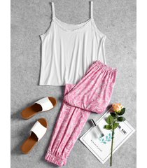 cami top and floral pants sleep set