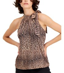 inc animal-print tie-neck halter top, created for macy's
