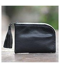 leather wallet, 'small and simple in black' (indonesia)