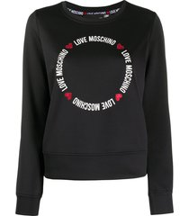 love moschino round lettering logo sweatshirt - black
