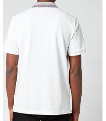 missoni men's contrast collar pique polo shirt - white - l