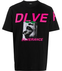 diesel statement print t-shirt - black