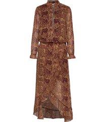 dress w. long sleeves in pyton prin knälång klänning brun coster copenhagen