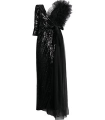 alchemy tulle and sequin-embellished asymmetric dress - black