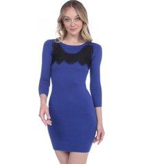 vestido manga larga tela gruesa azul 609