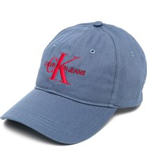 calvin klein jeans logo-embroidered baseball cap - blue