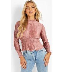 plisse blouse met hoge hals, rose