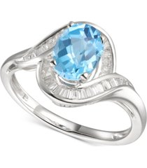 blue topaz (1-3/8 ct. t.w.) & diamond (1/4 ct. t.w.) swirl ring in 14k white gold