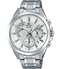 reloj casio edifice efv-580d-7av para caballero lujoso plateado