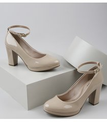 sapato feminino beira rio em verniz salto médio meia pata bege
