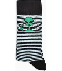 mens black peeping alien stripe socks