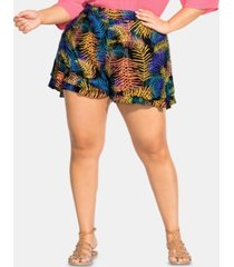 city chic trendy plus size printed tiered-hem shorts