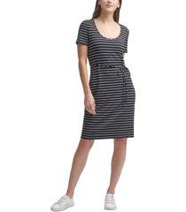 calvin klein striped belted a-line dress