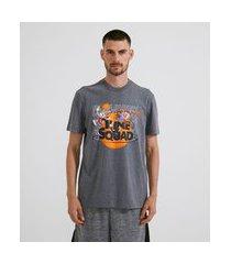 camiseta manga curta em algodão estampa space jam | looney tunes | cinza médio | p