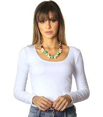blusa de manga comprida feminina branca decote redondo