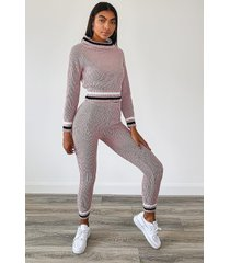 tall stripe sweater & leggings lounge set, mauve