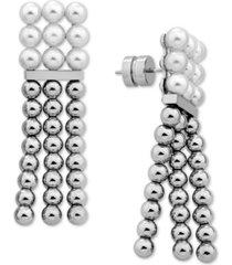 majorica gold-tone bead & imitation pearl chandelier earrings