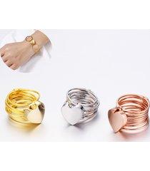 anelli a cuore unici impilabile in multistrato da 2 in 1 bracciale a doppio anello per le donne