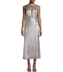 peek-a-boo metallic cocktail dress
