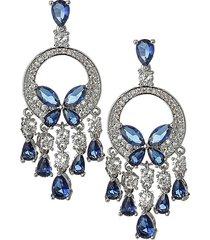 luxe lights silvertone & blue & white crystal dangle earrings